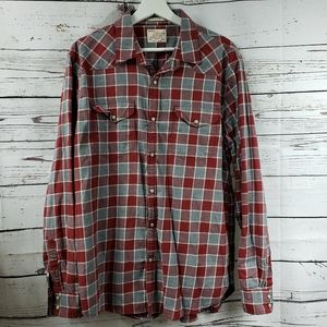 Lucky Brand Classic Fit Red Plaid Pearl Snap Shirt
